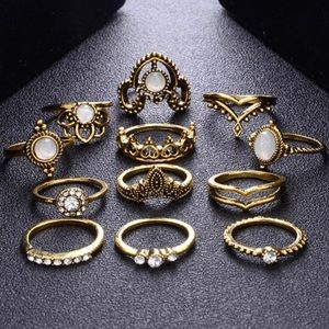 Jewelry - Gold Boho Chic Lotus Queen Ring Set 👑🕉